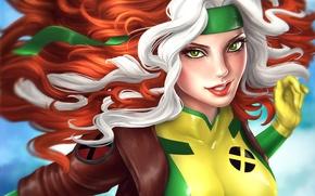 Picture look, flight, costume, green eyes, Rogue, Marvel Comics, Rascal, Rogue