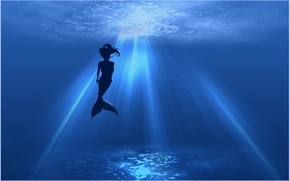 Picture sea, the ocean, mermaid, silhouette, the sun's rays