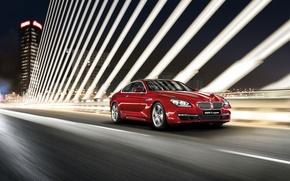 Picture machine, auto, night, red, speed, BMW, BMW M6