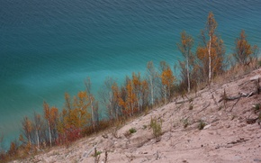 Picture autumn, trees, slope, lake Michigan