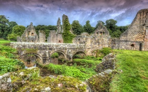 Picture grass, clouds, trees, bridge, stones, England, HDR, the ruins, Fountains Abbey