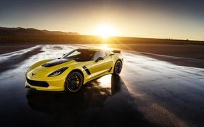 Picture Z06, Corvette, Chevrolet, Front, Yellow, Supercar