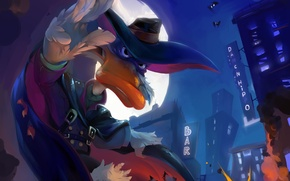 Picture the explosion, the city, the moon, bats, duck, Darkwing Duck, Black Cloak