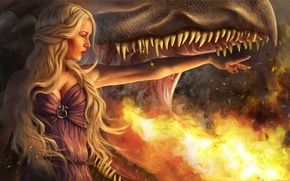 Picture girl, flame, dragon, mouth, blonde, Game Of Thrones, Game of Thrones, Daenerys Targaryen