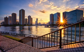 Wallpaper the city, river, home, Tokyo, promenade, Kotoku, JAPAN