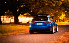 Picture autumn, Subaru, Impreza, STI, blue, Subaru, Impreza