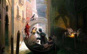 Picture bridge, people, fire, boat, dance, shadow, Venice, rat