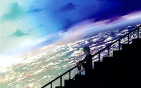 Picture the sky, clouds, Earth, ladder, Vocaloid, green hair, Rubber megpoid