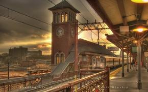 Wallpaper watch, station, train