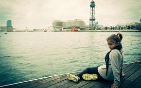 Picture pier, girl, Barcelona