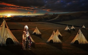 Picture sunset, Indian, tepees