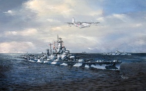 "Picture ""Coronado"", art, WW2, the carrier, ship of the line, sea, Consolidated PB2Y, US NAVY, figure, ..."
