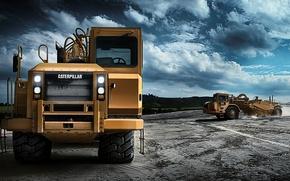 Picture machine, heavy equipment, wheel scraper, CAT 627G