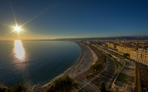 Picture road, auto, the sun, machine, country, city, coast, view, road, home, Italy, places, full hd