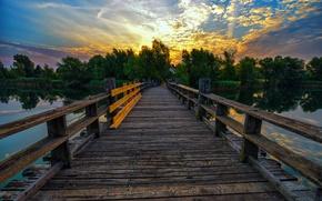 Picture sunset, bridge, lake, pond, the evening