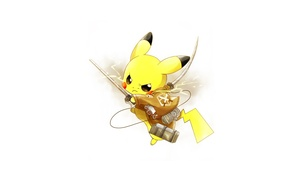 Picture weapons, art, Pikachu, pokemon, attack of the titans