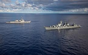Wallpaper cruiser, Navy, Meeting, 011 Varyag, USS Fitzgerald, Destroyer URO, Raketni