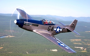 Picture the sky, retro, the plane, landscape, Mustang, fighter, P-51, North American