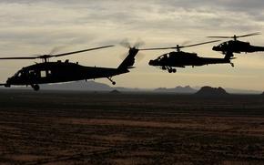 Picture USA army, Ah-64 apache, UH-60 Black Hawk