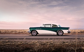 Picture road, the sky, clouds, wheel, side, 1956, Buick