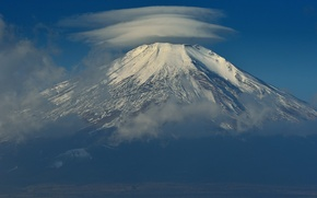 Picture the sky, clouds, Japan, mount Fuji