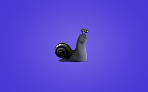Wallpaper minimalism, snail, snail, Turbo, purple background, Turbo