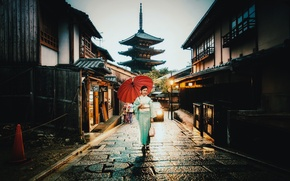 Wallpaper village, umbrella, car, raining, street, woman