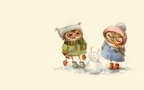 Wallpaper winter, mood, owl, the game, art, snowman, walk, children's, treat, sovushka, Inga Paltser, Inga, Pelzer