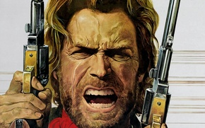 Picture face, art, revolver, Western, Clint Eastwood, Clint Eastwood, colt, josey wales