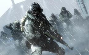 Picture soldier, snow, cold, assault rifle, Battlefield 4, equipment