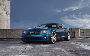 Picture the sky, clouds, blue, Chevrolet, Parking, Camaro, Chevrolet, blue, Camaro