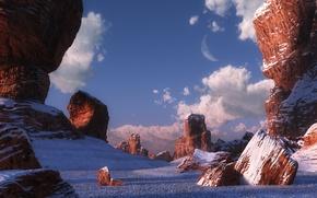 Picture winter, stones, rocks, desert, canyon, digital, Desert dawn