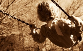 Picture trees, nature, children, childhood, background, swing, widescreen, Wallpaper, mood, child, Sepia, hairstyle, chain, girl, tape, …