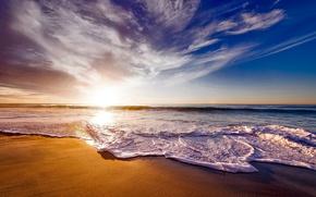 Wallpaper USA, CA, horizon, the sky, the sun, sea, coast, dawn, surf