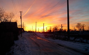 Picture winter, the sun, sunset, the evening