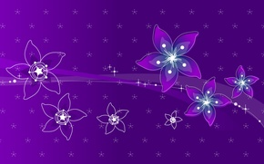 Wallpaper line, flowers, purple, abstacle
