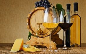 Wallpaper wine, red, white, crane, cheese, glasses, grapes, bottle, barrel