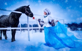 Picture girl, snow, hat, horse, Apple, dress, shawl