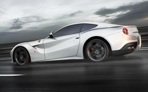 Picture Ferrari, Speed, White, Road, Berlinetta, F12, Rear