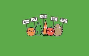 Wallpaper protest, Vegetables, kartohu taxis, fruit, Antiveleni