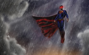 Picture rain, superman, Clark Kent, man of steel, Kal-El