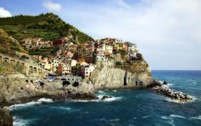Picture landscape, rocks, coast, Italy, Italy, The Ligurian sea, Manarola, Manarola, Cinque Terre, Cinque Terre, Ligurian …