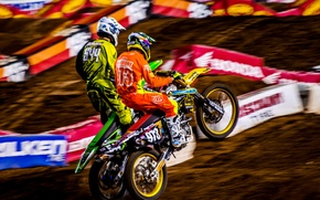 Picture motorcycles, track, race, motocross, equipment, sync, racers