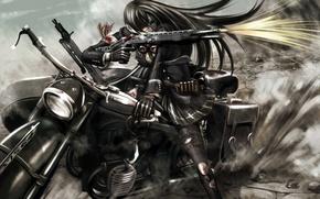 Picture blood, anime, shot, art, motorcycle, headband, kouji oota, girl. weapons