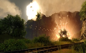Picture the explosion, palm trees, Crysis