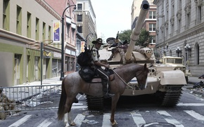 Picture the city, horse, zombies, tank, the series, The Walking Dead, The walking dead, Andrew Lincoln, …