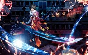 Wallpaper Inori Yuzuriha, GUILTY CROWN, girl, guy, Shu Ouma, anime