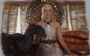 Picture girl, dragon, art, A Song of Ice and Fire, Game Of Thrones, A song of …