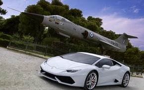 Picture Lamborghini, white, plane, Huracan