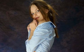 Picture look, smile, background, shirt, brown hair, Emily, Studio, charm, amelie, gray-eyed